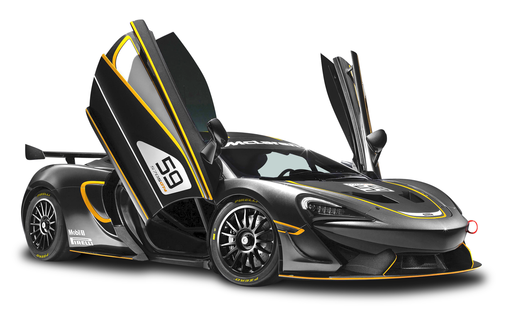 Black McLaren 570S GT4 Sports Car PNG Image