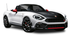 Black and White Fiat 124 Spider Abarth Car PNG Image