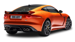 Orange Jaguar F Type SVR Coupe Back View Car PNG Image