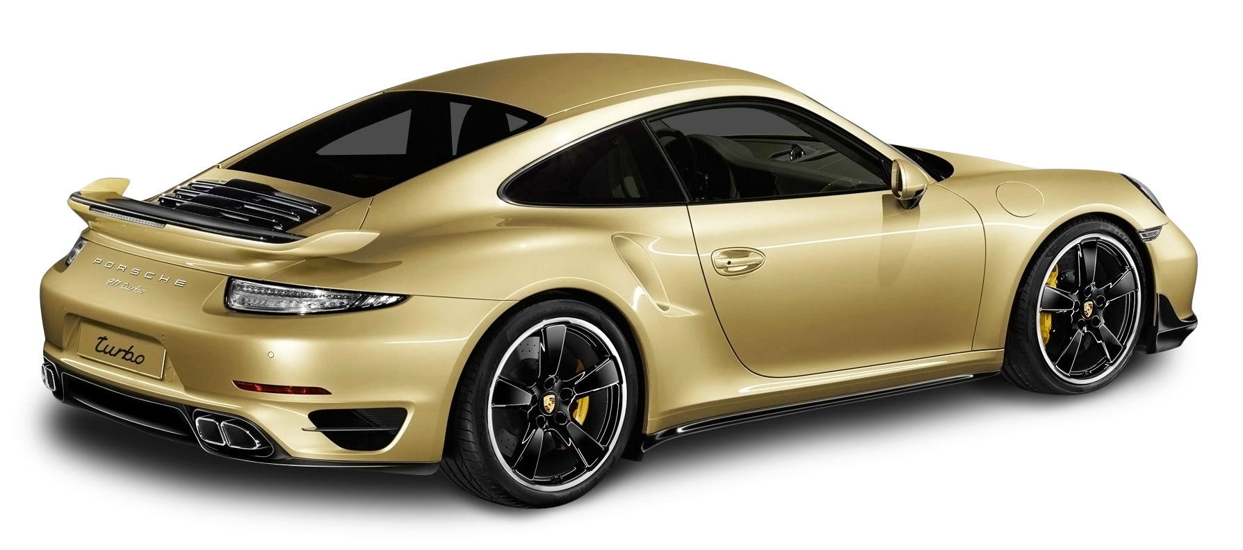 Porsche 911 Turbo Aerokit Gold Car PNG Image