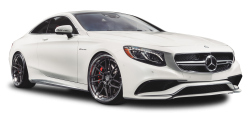 White Mercedes Benz S63 AMG Car PNG Image