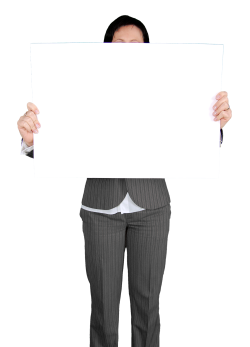 Business Woman Holding Blank White Board PNG Image