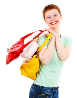 Fashion Woman Holding Handbags PNG Image