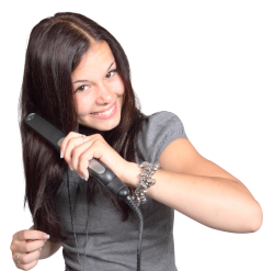 Girl Straightens Her Hair PNG Image