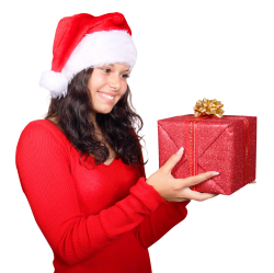 Girl Wearing Red Santa Claus Hat with Gift-Box PNG Image
