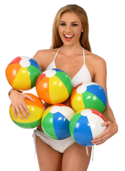 Happy Woman Holding Beach Ball PNG Image