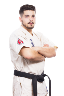 Karate Male Fighter in White Kimono and Black Belt PNG Image