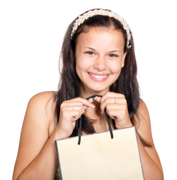 Lovely Young Woman Carrying Shopping Bag PNG Image