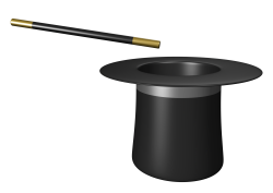 Magician Hat with Wand PNG Transparent Image