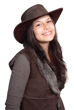 Smiling Cowgirl Woman Wearing Cowboy Hat PNG Image