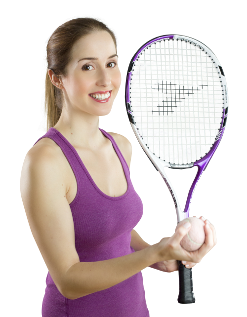 Smiling Woman With A Tennis Racket PNG Image