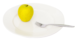 Apple and Fork on Plate PNG Image
